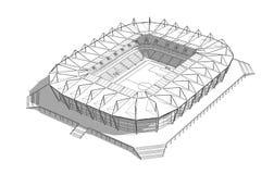 Skizze des neuen Stadions in Kaliningrad Stockbild