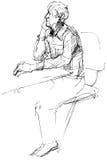 Skizze des nicht jungen Mannes des Seins an einem Tisch lizenzfreie abbildung