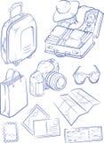 Skizze des Reise-Gegenstandes u. des Symbols lizenzfreie abbildung