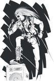 Skizze des Rockers singend auf Konzert Lizenzfreie Stockfotografie