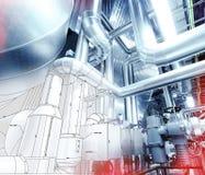 Skizze des Rohrleitungsdesigns mit Foto der industriellen Ausrüstung lizenzfreies stockfoto