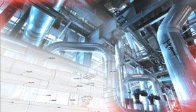 Skizze des Rohrleitungsdesigns mit Fotos der industriellen Ausrüstung lizenzfreie stockfotografie