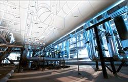 Skizze des Rohrleitungsentwurfs mischte mit Fotos der industriellen Ausrüstung Lizenzfreie Stockbilder