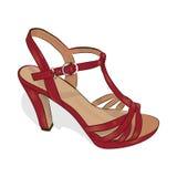 Skizze des roten Schuhes der Frauen auf einem weißen Hintergrund Vektor Lizenzfreie Stockfotos