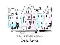 Skizze des Stadthauses, abgetrennte, Einfamilien- Häuser mit Bäumen Hand gezeichnete Karikatur-Vektor-Illustration Stock Abbildung