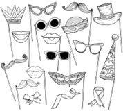 Skizze des Standes stützt Schnurrbart, Gläser, Feiertagshut und Lippen lizenzfreie abbildung