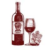 Skizze des Wein-Handabgehobenen betrages Vektor lizenzfreie abbildung