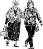 Skizze, die von den Stadtbewohnerinnen gehen auf einen Spaziergang ist Stock Abbildung