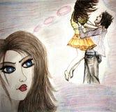 Skizze einer Frau, die an ihre Liebe sich erinnert Stockfotografie
