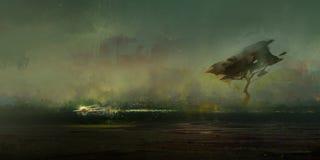 Skizze einer grimmigen zukünftigen Landschaft mit Baum vektor abbildung