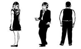 Skizze einer Gruppe junger Studenten Stockfotos