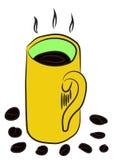 Skizze einer heißen der Kaffeetasse und Bohnen in den hellen Farben lizenzfreie abbildung