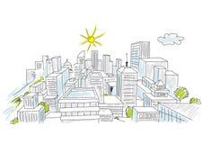 Skizze einer Stadt Stockfotografie