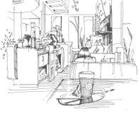 Skizze eines Cafés Stockbilder