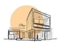 Skizze eines Gebäudes mit einem hellorangeen Kreis auf dem Hintergrund mit Text Stockfotos