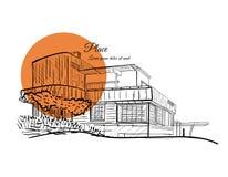Skizze eines Gebäudes mit orange Kreis auf dem Hintergrund mit Text Lizenzfreie Stockfotos