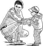 Skizze eines jungen Vaters mit seinem Kind Stockbild