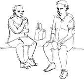 Skizze eines Kerls und des Mädchens, die Eiscreme essen Stockbilder