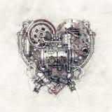 Skizze eines mechanischen Herzens, Illustration 3D Lizenzfreies Stockfoto