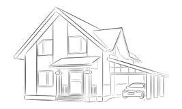 Skizze eines Privathauses Stockfotos