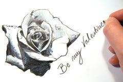Skizze eines Valentinsgrußes Rose Stockfotografie