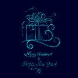 Skizze eines Weihnachtsgeschenks, Gruß, Lizenzfreie Stockbilder
