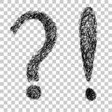 Skizze, Frage und Ausrufezeichen des Handabgehobenen betrages Lizenzfreies Stockbild