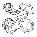 Skizze Hand gezeichnetes Vareniki mehlklöße Nahrung kochen Mahlzeit von den Meeresfrüchten Lizenzfreie Stockfotos