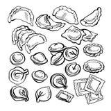 Skizze Hand gezeichnetes Vareniki Pelmeni Russisches pelmeni auf einer Platte Nahrung kochen Lizenzfreies Stockbild