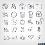 Skizze-Ikonen-Set Stockfotografie