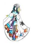 Skizze kleidet Frau in der Winterkleidung Stockfotografie