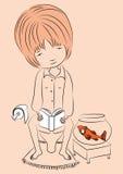 Skizze-Mädchen-Lesung-in-Toilette Stockfoto