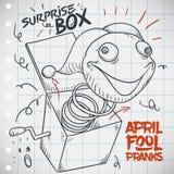 Skizze mit Jack in the Box Streich für April Fools-` Tag, Vektor-Illustration Lizenzfreies Stockfoto