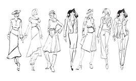 skizze Modemädchen auf einem weißen Hintergrund lizenzfreie stockbilder