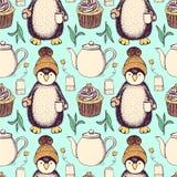 Skizze pinguin im Hut mit Tee Stockbild