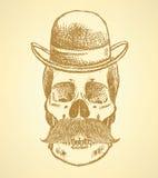Skizze Scull mit dem Schnurrbart und im Hut vektor abbildung