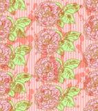 Skizze stieg mit Blättern, nahtloses Muster des Vektors Lizenzfreie Stockfotografie