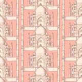 Skizze Taj Mahal, nahtloses Muster Lizenzfreies Stockfoto