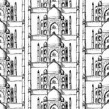 Skizze Taj Mahal, nahtloses Muster Stockfotografie