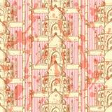 Skizze Taj Mahal, nahtloses Muster Stockbilder