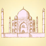 Skizze Taj Mahal, Weinlesehintergrund Lizenzfreie Stockfotografie