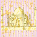 Skizze Taj Mahal, Weinlesehintergrund Stockfoto