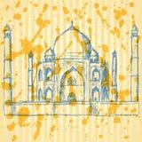Skizze Taj Mahal, Weinlesehintergrund Stockbilder