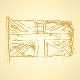Skizze Unaited-Königreichflagge, Vektorhintergrund Lizenzfreies Stockfoto
