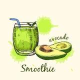 Skizze von Avocado Smoothie im Glas Auch im corel abgehobenen Betrag lizenzfreie abbildung