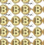 Skizze von bitcoin Auch im corel abgehobenen Betrag Lizenzfreie Stockfotografie