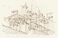 Skizze von Dächern und von Kaminen vektor abbildung