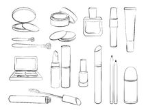 Skizze von den Elementen für Make-up lokalisiert auf weißem Hintergrund Stockfotografie