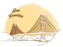 Skizze von Golden gate bridge Stockfotos