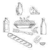 Skizze von italienischen Teigwaren und von Lebensmittel Stockfotografie